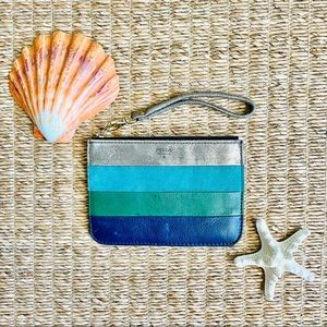 Fossil Blue Silver Teal Green Leather Wristlet